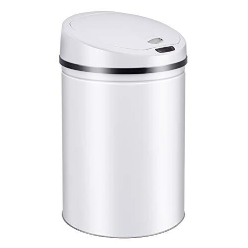 cubo de basura de acero inoxidable - cubo de basura con sensor - apertura y cierre automáticos - anillo de sujeción para bolsas de basura - tapa desmontable - con pantalla de función LED