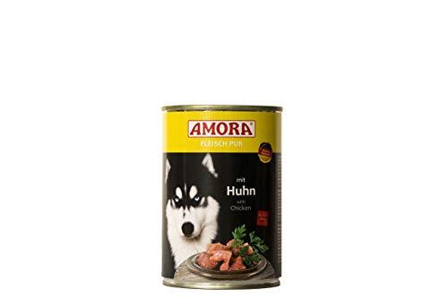 Amora Fleisch Pur Sorte Huhn 12 x 400g Hundefutter Nass