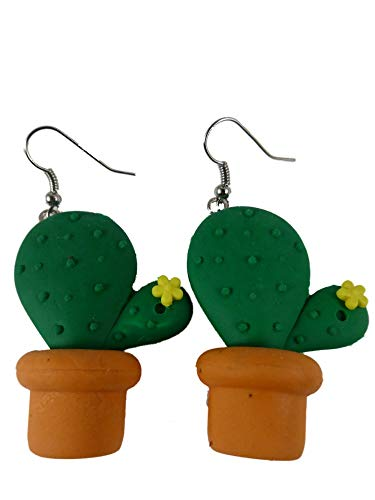 Ohrringe Ohrhänger Hänger Kaktus Kakteen mit Blume Blüte grün Radiergummi 9571