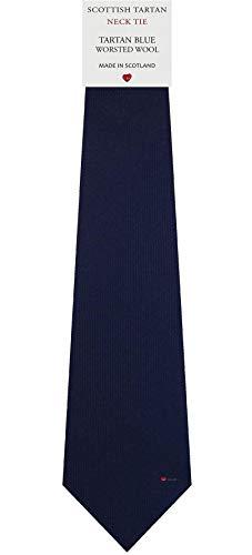I Luv Ltd Cravate en Laine pour Homme Tissée et Fabriquée en Ecosse à Plain Blue Tartan
