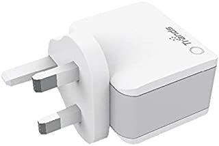 Dual Port USB Travel Charger Compatible with iOS and Android Devices, White
