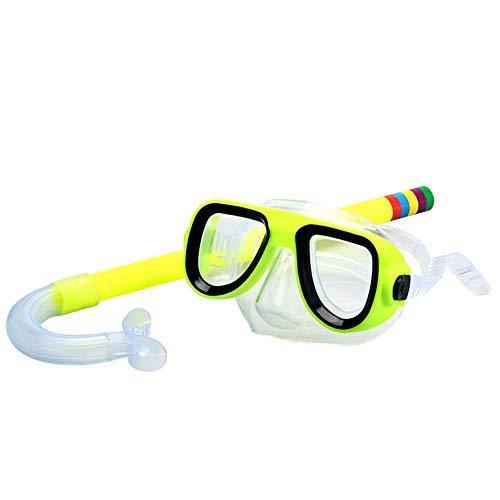QWERT 2 Piezas Easybreath Gafas de Bucear Niños Máscara de Buceo Máscara Snorkel Tubo Respirador Anti-Niebla Gafas de Natación Set de Buceo 3-10 Años de Edad,Amarillo