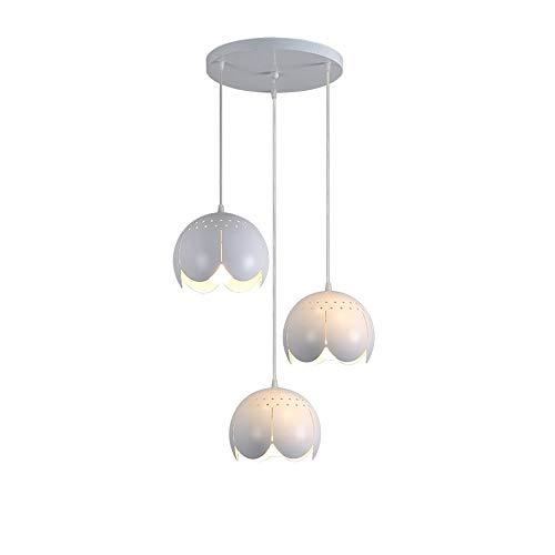 Moderne elegante hanglamp kroonluchter creatieve bloemendesign hanglamp ronde witte ijzeren holle lampenkap plafondlamp voor keuken eetkamer bar loft balkon klassieke suède-verlichting,