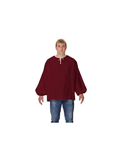 DISBACANAL Camisas Medievales de mesonero - Granate, Adulto