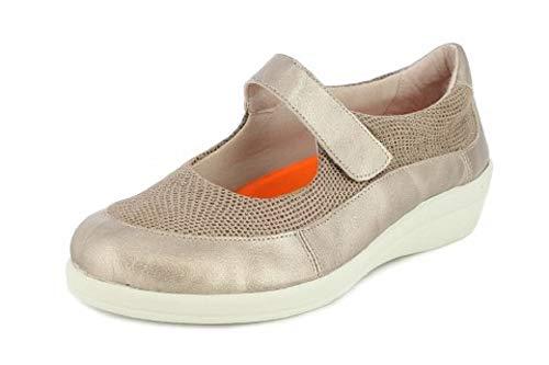 Zapato Merceditas Mujer DOCTOR CUTILLAS, en Piel Adaptable Color Beige, Velcro. Mod.43638 (Beige, Numeric_35)