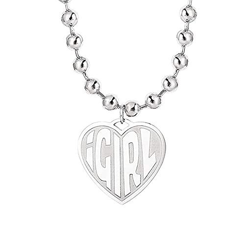 Colar de coração Comtrute Igirl atualizado, pingente de aço inoxidável fashion simples (corrente de contas grandes) para joias femininas (prata)