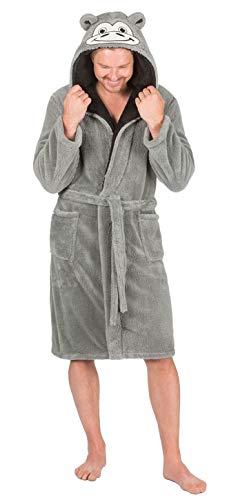 de hombre con capucha para acurrucarse Vestido De Lana Traje Con de casa calcetines - Gris simio, Large