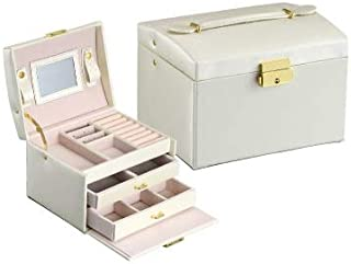 Carveders YHM Simple Portable Jewelry Box Earrings Ring Storage Consolidation Box with Drawers, Size : 17.5 x 14 x 13cm(White) (Color : White)