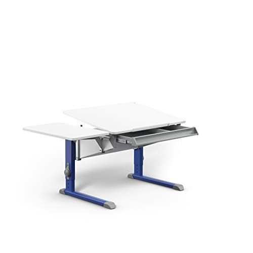 moll Bandit CP Füße Blau mit Side Top + Schublade Kinderschreibtisch, Holz, 37.2 kg