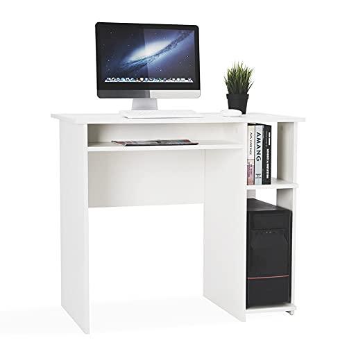 Meerveil Schreibtisch, Kleiner Computertisch mit 2 offenen Fächern für Arbeitszimmer Büro, 85 x 45 x 75 cm, Weiß