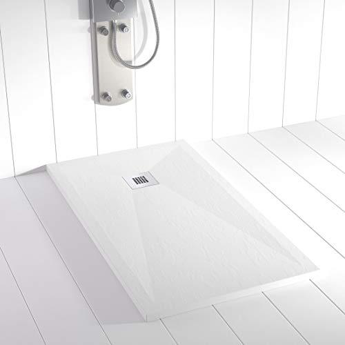 Shower Online Receveur de douche en résine PLES - 80x140 - Texture Ardoise - Antidérapant - Toutes les tailles disponibles - Y compris la Grille en Acier Inoxydable et la Bonde - Blanco RAL 9003