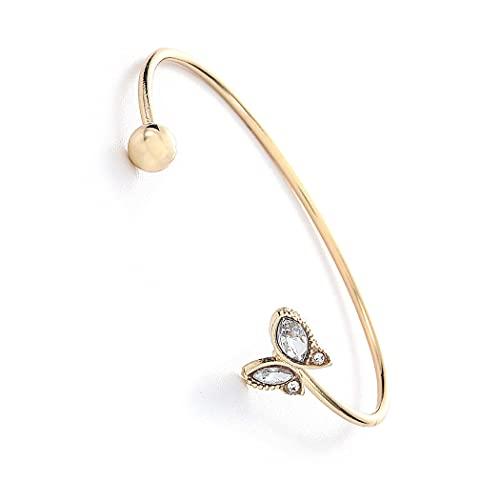 Yean Pulsera de alambre abierto con mariposa dorada ajustable Boho cadena de mano Rhinstone accesorios de joyería para mujeres y niñas