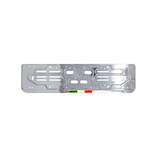 Quattroerre 1263 Kennzeichenhalter Chrom vorne + hinten universell mit Flagge Italien 3D