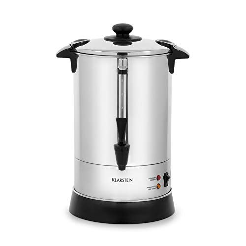 Klarstein Excelsa Kaffeemaschine Rundfilter-Kaffeemaschine, 30 Tassen, Edelstahl Gehäuse, 950Watt, Zapfhahn, Warmhalte-Funktion, externe Pegel-Anzeige, Deckel mit Verschlussvorrichtung, silber