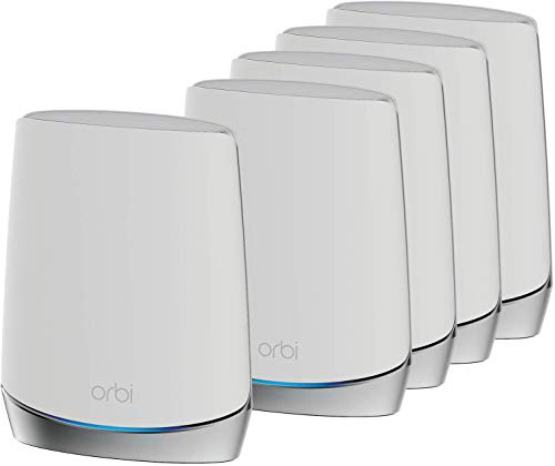 NETGEAR Orbi Mesh WiFi 6 Mesh RBK755, Router + 4 satélites, Cobertura de 875 m2, Velocidad AX4200 Tribanda