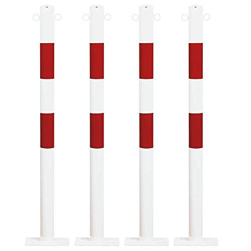ROBUSTO Absperrpfosten-Set aus Stahl, zum Aufdübeln, 4 Stück, rot/weiß, Ø 6 cm, 100 cm hoch (2 Kettenösen)
