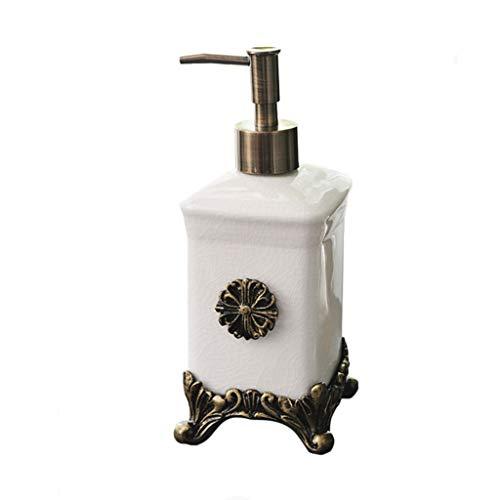 Vintage Keramik Pumpe Flüssigseifenspender Badezimmer Spüle Hand Seifenspender Duschgel Pumpe Lotion Flasche (Color : White)