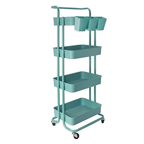 4 Tier Rolling Cart with Wheels Storage Trolley Cart Makeup Cart for Kitchen, Home, Office, and Bathroom - Blue