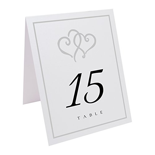 Linked Hearts and Border Table Numbers, White, Silver, Numbered 1 through 15