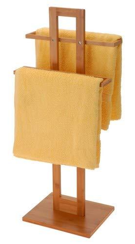Relaxdays Handtuchständer Bambus mit 2 Handtuchstangen HBT 85 x 37 x 25 cm frei stehender Handtuchhalter in natürlicher Holz Optik als kleiner Herrendiener oder Kleiderständer im Bad, natur