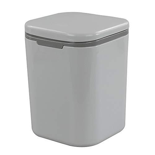Gitany Mini-Abfalleimer mit Deckel, Druckknopf, 1.8 L, Grau