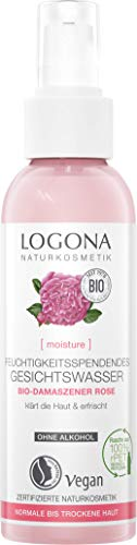 LOGONA Naturkosmetik MOISTURE Feuchtigkeitsspendendes Gesichtswasser Bio-Damaszener Rose, 125 ml