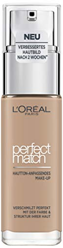 L'Oréal Paris Make up, Flüssige Foundation mit Hyaluron und Aloe Vera, Perfect Match Make-Up, Nr. 4.N Beige, 30 ml