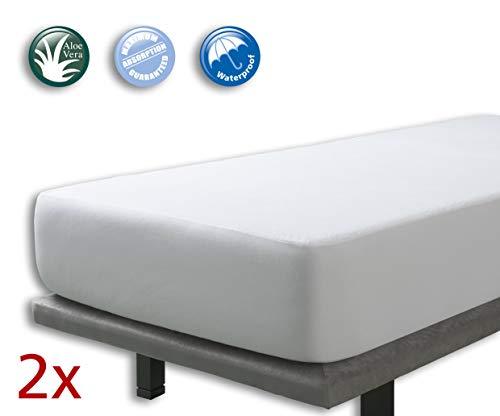 Velfont – 2er Set Wasserdicht Matratzenschoner 90 x 200 cm/Matratzenauflage mit Aloe Vera behandelt, Atmungsaktiv – Verfügbar in verschiedenen Größen