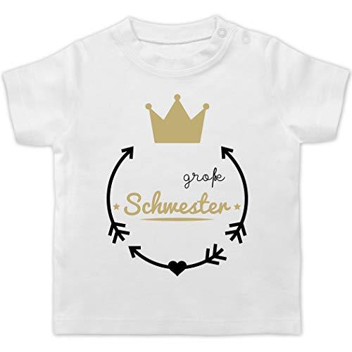 Preisvergleich Produktbild Geschwisterliebe Baby - Große Schwester - Krone - 18 / 24 Monate - Weiß - t Shirt Grosse Schwester - BZ02 - Baby T-Shirt Kurzarm