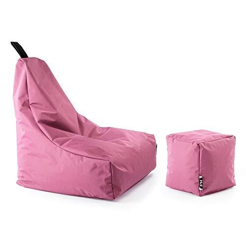 Patchhome Lounge Sessel + Würfel XXL Gamer Sitzsack Sitzkissen Sitzsäcke Erwachsene Riesensitzsack Kinder fertig mit Styropor Füllung befüllt In & Outdoor geeignet in 2 Größen und 25 Farben Rosa