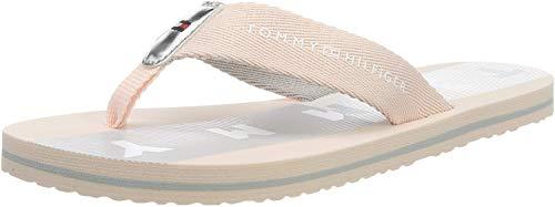 Tommy Hilfiger Damen FLAT BEACH SANDAL FLAG PRINT Zehentrenner, Pink (Silver Peony 658), 37 EU