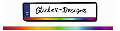 2Stück!50x1,5cm! Aufkleber/Klebe-Streifen für Kennzeichenhalter!Regenbogen verlauf 2 K40-UV&Waschanlagenfest-Auto-Vinyl-Sticker Profi Qualität-Kratzfest!