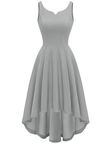 MUADRESS 9006 Vestido Vintage en Audrey Hepburn Cóctel Ceremonia de Boda Falda Asimétrica sin Mangas Frente Corto Largo Atrás Gris L