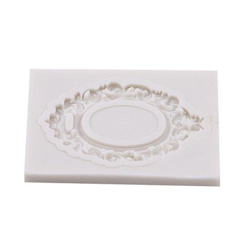 jixing Antik Spiegel Rahmen Fondant Kuchen Form Silikonform Bordüre Prägung Home Küche Gebäck Werkzeug, grau, 5.2*4*0.6cm