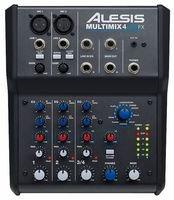 Alesis MultiMix 4 USB FX - Mesa de mezcla de 4 canales con efectos, interfaz de audio USB y entradas de micrófono, línea y guitarra, mezclador de estudio, Pro Tools First by Avid incluye