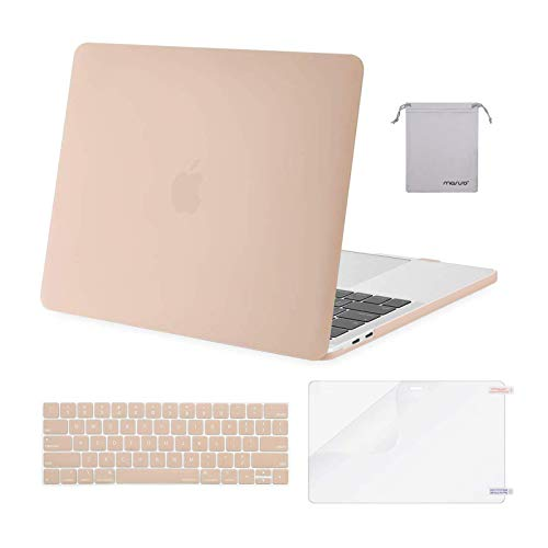 MOSISO Compatible with MacBook Pro 13 inch Case 2016-2020 Release A2338 M1 A2289 A2251 A2159 A1989 A1706 A1708, Plastic Hard Shell Case&Keyboard Cover Skin&Screen Protector&Storage Bag, Camel