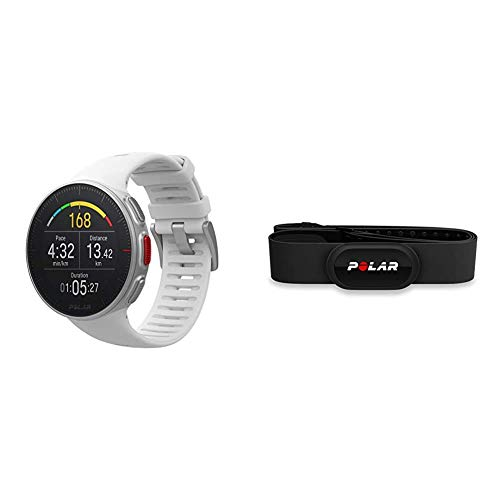 POLAR Vantage V Profi-Multisportuhr mit GPS Pulsuhr, Weiß, M/L & H10 Herzfrequenz-Sensor, Schwarz, M-XXL, Unisex, ANT+, Bluetooth, EKG, Wasserdichter Herzfrequenz-Sensor mit Brustgurt