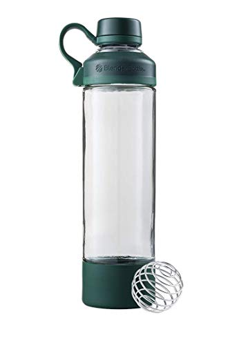 BlenderBottle Mantra Glass Shaker Bottle, 20-Ounce, Spruce Green