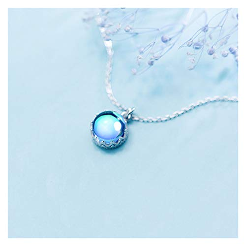 JJH Blue Crystal Necklace for Women, 925 Sterling Silver, for Wife Mother Girlfriend Friends Birthday, 44 cm / 17.3' Chain
