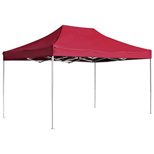 vidaXL Carpa Plegable Profesional Aluminio Cenador Pagoda Pérgola Fiestas Celebraciones Salones Estructuras Recintos Parasoles 4,5x3 m Rojo Vino Tinto