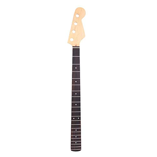 Bass Neck, Electric 4-String Guitar Bass Neck Yellow Maple Wood 21-Fret Repair Replacement