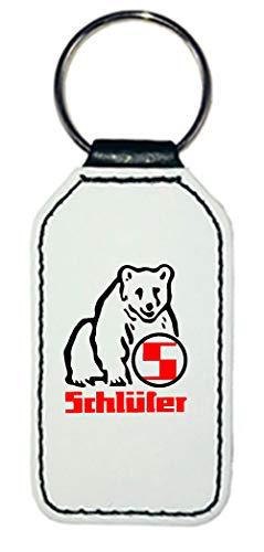 Leder Schlüsselanhänger   Schlüter Logo   rechteckig   weiß