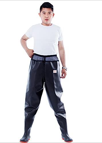 Atmungsaktive Watch-Hosen-Halbkörper-Fischerei-Hosen Bequeme Watze-Hosen mit Schuh für draußen im Freien (Color : Black, Size : 46)