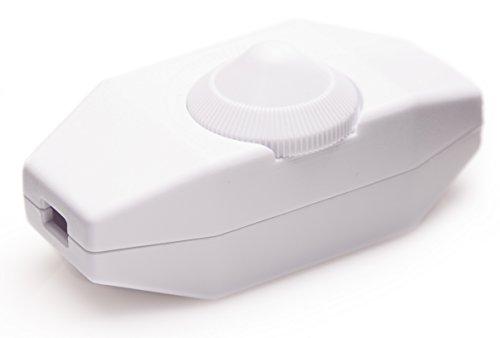 LED Dimmer (Kabeldimmer), 1-60 Watt stufenlos dimmen, für dimmbare LED, Ein-Aus, 220-230V, CE Dimmschalter/Schnur-Zwischendimmer, ab 1 Watt dimmen, Weiß, Geräuschlos, Buchenbusch Urban Design