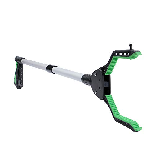 """Rirether 32"""" Trash Picker, Reacher Grabber with Magnetic Tip and Hook, Rotating Gripper, Claw Grabber, Durable Aluminum Alloy, Wide Jaw, Foldable Lightweight Reacher(Green)"""