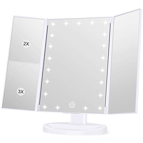 (White) - KOOLORBS Makeup 21 Led Vanity Mirror with Lights, 1x/2x/3x Magnification, Touch Screen Switch, 180 Degree Rotation , Dual Power Supply White
