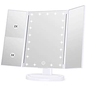 31zWdlBRjAL. SS300  - Wondruz Makeup Mirror Vanity Mirror with Lights, 1x 2X 3X Magnification, Touch Screen Switch, Dual Power Supply…
