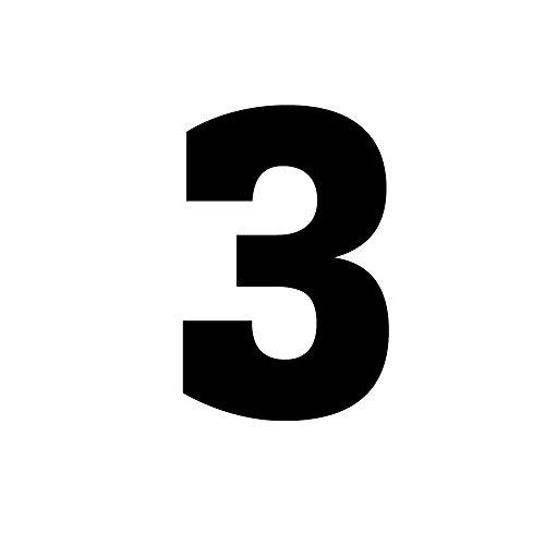 Wärmeübertragung zum Aufbügeln, Nummer 0 ~ 9, für Fußball/Baseball-Trikot, Schwarz, Kinder, Zahl-3, Tall: 10