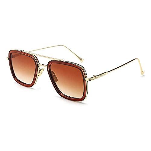 zhaita FSIGOM Brillen, Vintage Pilotenbrille, quadratischer Metallrahmen für Frauen, Sonnenbrille, klassische Downey Iron Man Tony Stark Shades, Braun, Bronze,