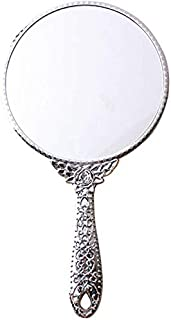 Daily Necessities Single-Side Round Princess Cosmetic Mirror Retro Hand-Holding Cute Beauty Vanity Mirror Resin Makeup Handle Dressing Mirror (Color : Gold, Size : S) (Color : Silver, Size : Large)
